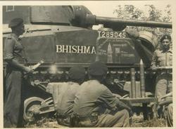 "A Sherman tank with the name ""Bhishma"" the legendary partriach of the Mahabharata"