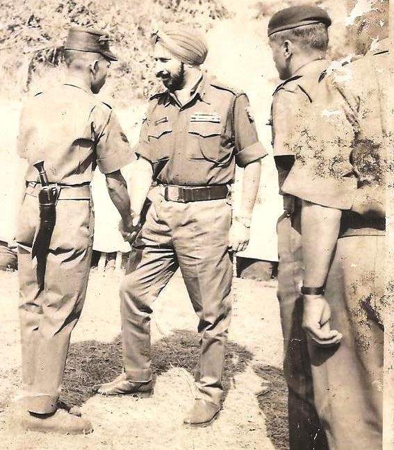 Lt. Gen J.S. Aurora with Hav. Dil Bahadur Chettri, MVC and Lt. Col A. B. Harolikar, MVC, after the war