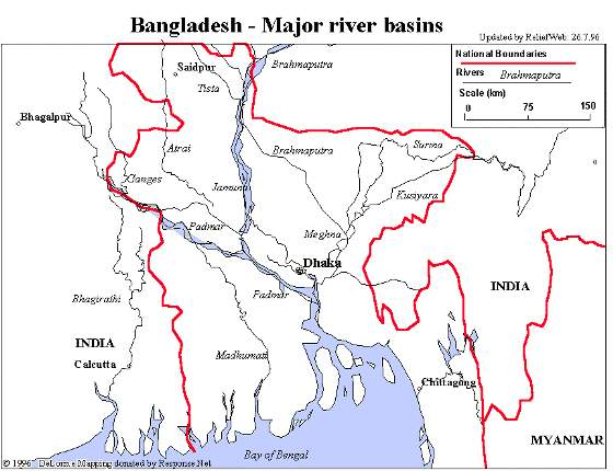 Map showing river basins of Bangladesh (then East Pakistan)