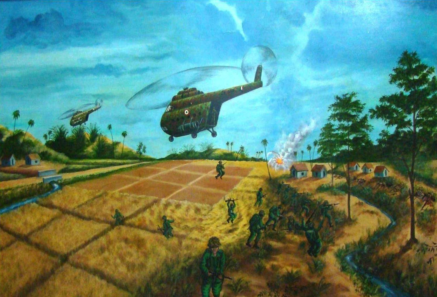 Heli landing Sylhet - 7th Dec. 1971