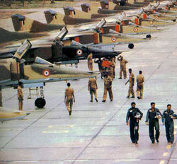 A line up of MiG-23BNs, from the No.10 Squadron, at Jodhpur AFS.