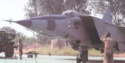 A MiG-25 of the Trisonics Squadron prepares to take off on a mission
