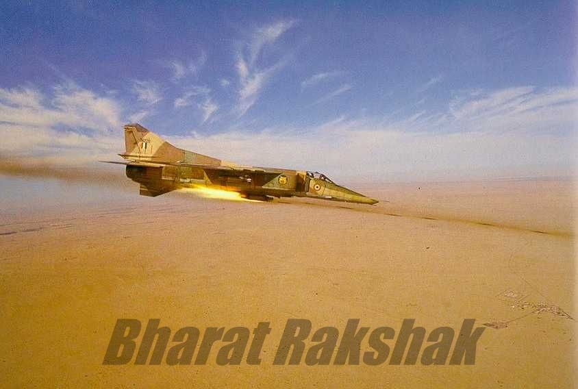 A MiG-23BN, from No.220 Desert Lions Squadron, in action