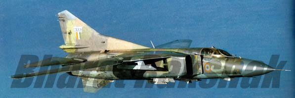 A MiG-23MF, from the No.224 Squadron, in flight over Jodhpur.
