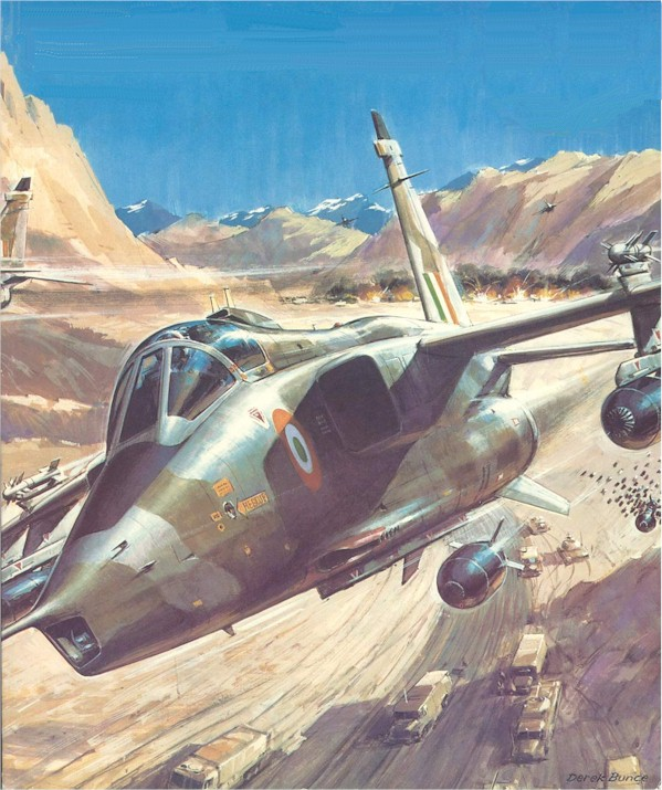1982 Jaguar IB drops cluster weapons over a Pak Army Convoy