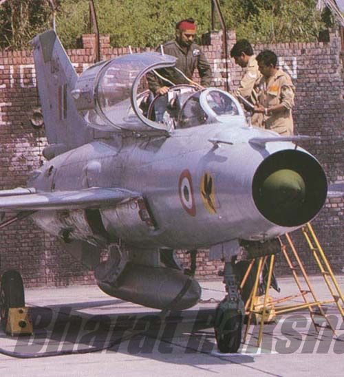 A MiG-21 trainer from No.24 Hunting Hawks Squadron
