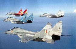 Four Mig-29s on air combat training