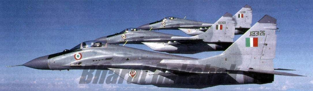 MiG-29s in close formation.