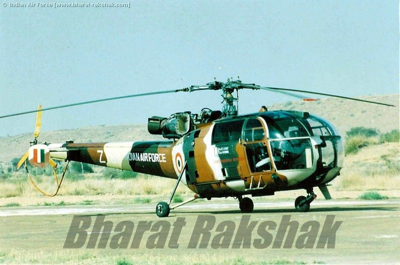 Chetak Z1811 in unique desert Camouflage colors at a forward airbase in Rajasthan.