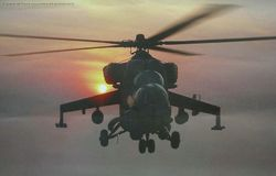 Mi-35 at Sunset
