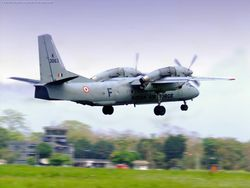An all-grey An-32 K3063 taking off from Hasimara.