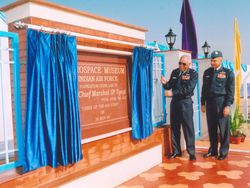 Air Chief Marshal SP Tyagi and Air Marshal AK Singh at the foundation stone laying ceremony of the new Aerospace Museum on 30th