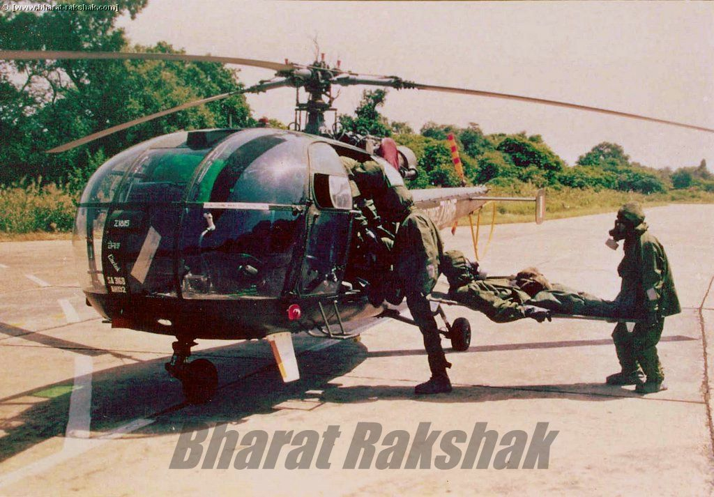 Casuality evacuation on a HAL Chetak Helicopter