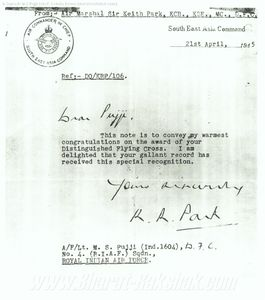 Letter from Air Marshal Keith Park