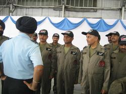 Air Marshal K D Singh speaking with the Flight Engineers of the Refuelling Squadron