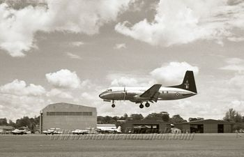 HS748 Avro BH572 touching down on Runway 20 [July-Aug 63]