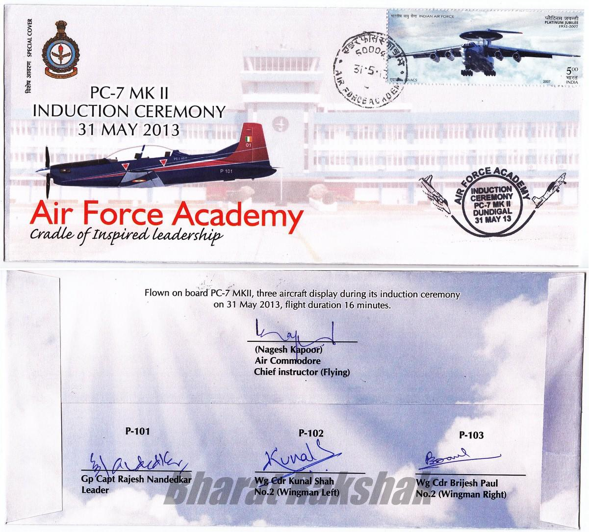 Special Cover for PC-7 Mk II Induction at Dundigal (2013)