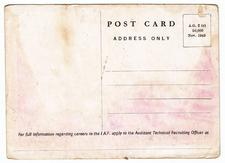1943 Post Card - Vultee Vengeance - Reverse