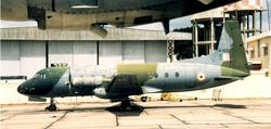 One of the rare examples of a HS-748 in Camo scheme