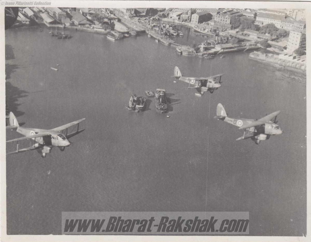 Dragon Rapides of No.2 Coastal Defence Flight over Bombay Harbour