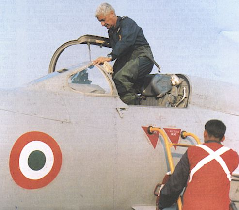 Air Chief Marshal AY Tipnis flying a MiG-21M of No.35 Squadron just months prior to his retirement