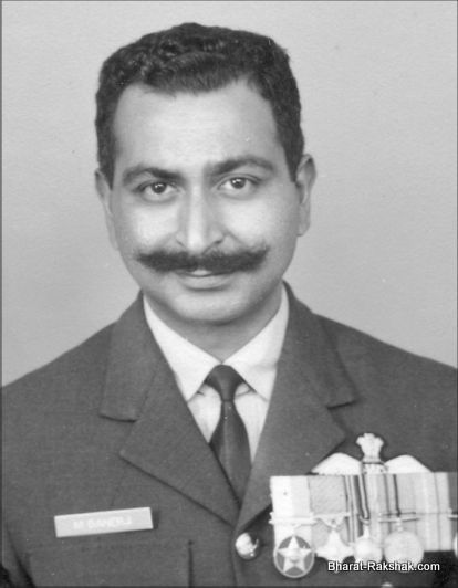 Post 71 Portrait of M Banerji, with his Maha Vir Chakra and Vayusena Medal prominently displayed