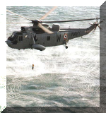 A Sea King Mk.42B [IN518] with its H/S-12 dipping sonar checks for enemy vessels. Image © Indian Navy