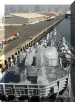 INS Delhi entering Doha harbour in Qatar with the tricolour flying high on 15 August 2007, India's 60th Independence Day. Indian Navy ships are on a 40-day deployment to the countries of West Asia. Image © PRO, Indian Navy