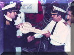 A key handing over ceremony on 28 January 1987, as the engineering department celebrated a milestone when the B Boiler room was flashed up. The person on right is Captain (later Vice Admiral) Vinod Pasricha. Image © Indian Navy via Kapil Chandni