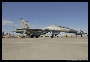 Su-30MKI taxies for the active runway outbound for a mission