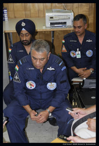 Air Marshal PV Naik, Air Commodore Jasbir Walia and Group Captain Ajay Rathore in an interview