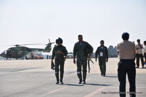 Su30 display pilots Wg Cdrs Ashu Srivastav and Parag Lall walking back from a display sortie