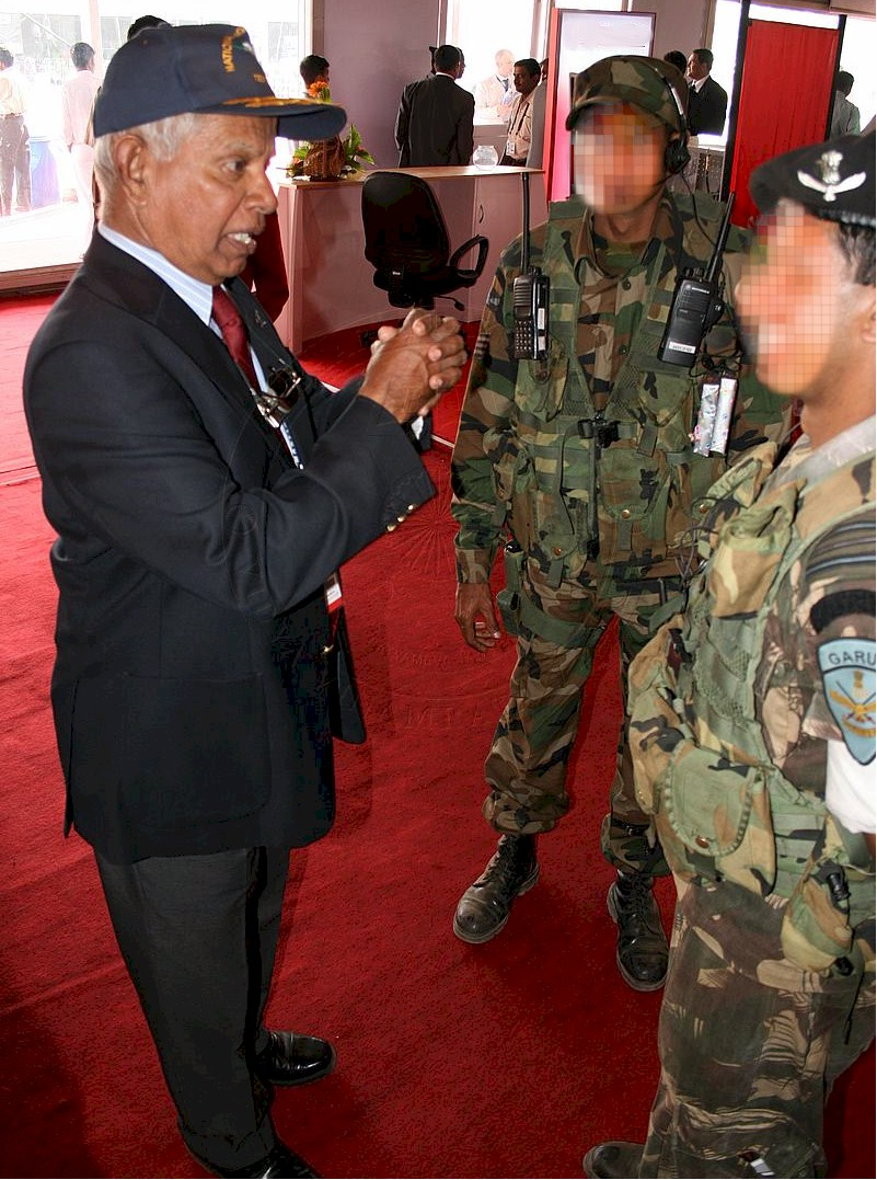 Air Marshal Philip Rajkumar talks with the two Garuds