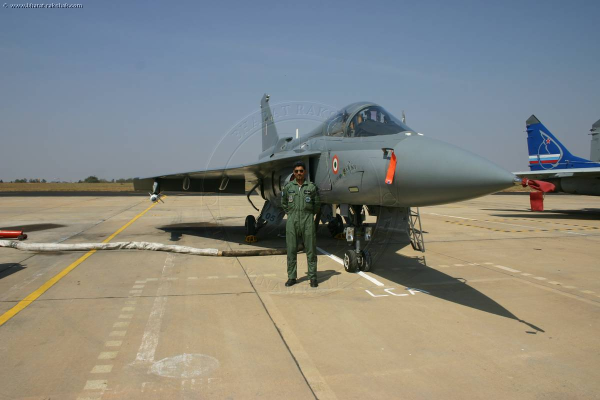 Gp Capt N Harish with Tejas PV3