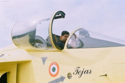 Gp Capt N Harish in the cockpit of HAL Tejas PV-3 [KH2005]