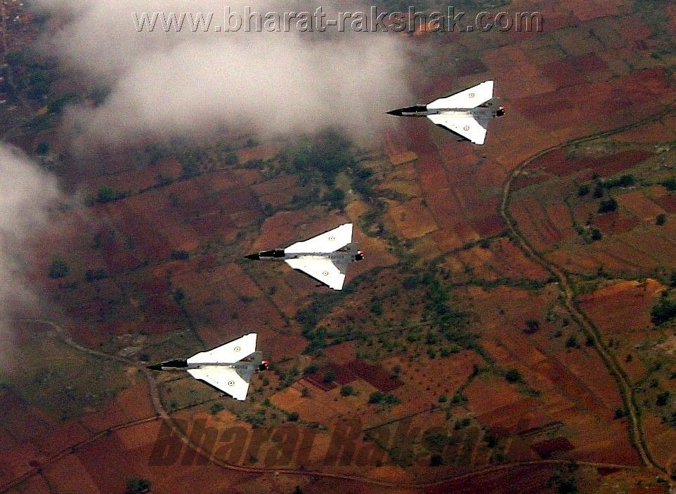 Flypast of three Tejas on Technology Day