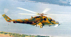 A Mi-25 flying over Sri Lanka.