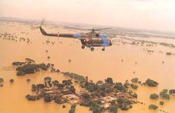 An Mi-8 on a flood relief sortie
