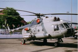 Mil Mi-8 Z2394 sported Chaff/Flare launchers (covered in red)