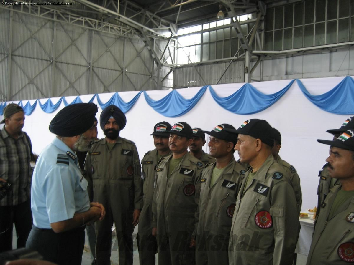 Air Marshal K D Singh with the Flight Engineers