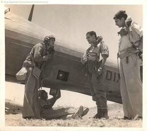 Flt Lt Y V Malse with ground crew