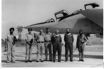 Air Chief Marshal I H Latif after a flight in the MiG-25R