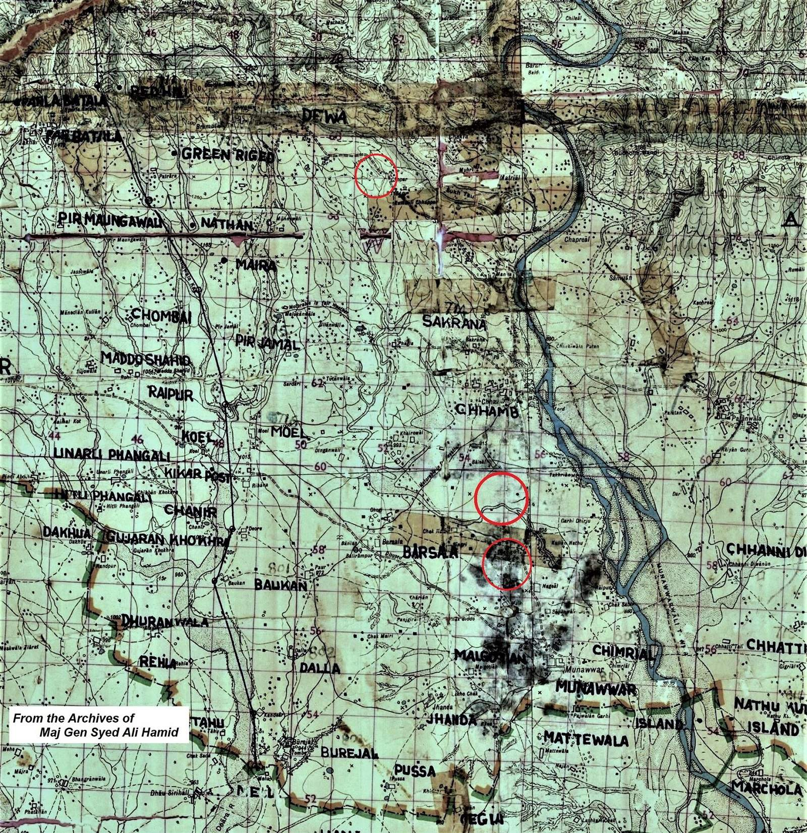 Indian Army Map from the collection of Maj Gen Syed Ali Hamid