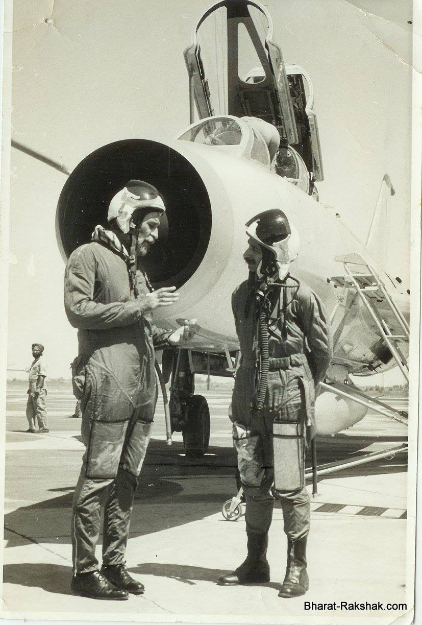 Sqn Ldr M Banerji with Air Chief Marshal Arjan Singh - right after he had given a flight to the Chief. This was in May 1968.